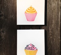 "I have since done a series of four 8"" x 10"" cupcakes on the same theme, with a slightly softer color palette."